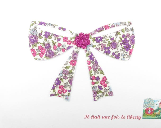 Applied fusible fabric Japanese Lecien raspberry and purple bow patch liberty fusible iron-on applique iron on bow