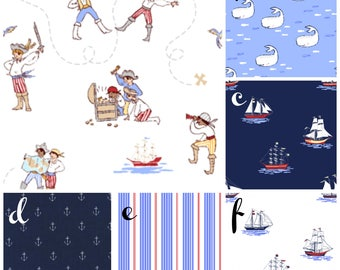 Fitted Crib Sheet ⎮ Baby Boy Crib Bedding ⎮ Out to Sea ⎮ Nautical ⎮ Pirates ⎮ Vintage ⎮ Anchors