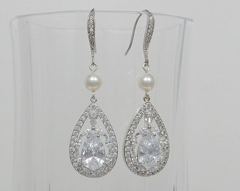 Bridal Earrings, Cubic Zirconia Crystals, Teardrop, Swarovski Pearls, Ear Wires, Aubrey Earrings - Will Ship in 1-3 Business Days