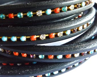 20 cm Strip black regaliz leather with multi colored crystals