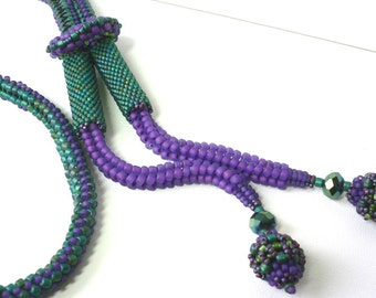 Vida beaded rope necklace tutorial: Instant Downloadable Pattern PDF File