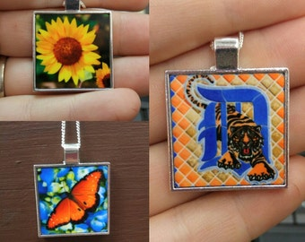 """CUSTOM PHOTO or Our Design 1"""" x 1"""" Pendant with Chain"""