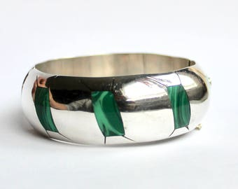 Vintage Sterling silver Mexican Malachite Bangle with hinge