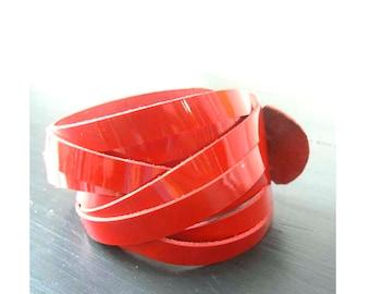 Patent Leather Double Wrap Cuff Bracelet
