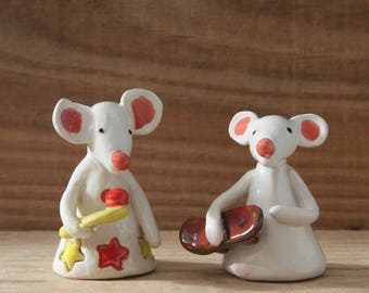 Mouse with Skateboard, Mouse playing Tennis, Ceramic Mouse, Handmade Individually designed
