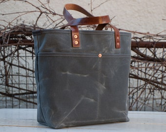 Waxed Canvas Tote Bag - FREE Standard Shipping in US - Grey - Bridle Leather Handles - Copper Rivets - Unisex - Made in USA