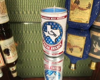 Vintage Texas Select Beer Can Candle, Soy Amber and Caramel scent