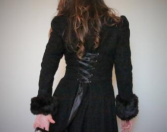 Retro Black Double-Breasted Heavy Wool & Fur Coat