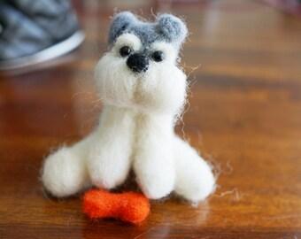 Needlefelt Wool Breed Specific Sitting Miniature Schnauzer Dog Puppy