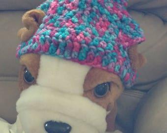 Multi Colored Crochet Dog Hat