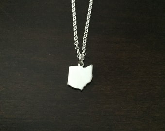 Ohio Necklace, Ohio, silver Ohio necklace, Ohio jewelry, Ohio pendant, state of Ohio, state necklace, state jewelry, silver necklace