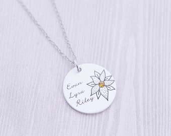 Grandma or Mom Pendant with Birthstone - Mommy Jewelry - Grandmother - Hand Stamped Jewelry - Birthstone Jewelry - Godmother - Nana