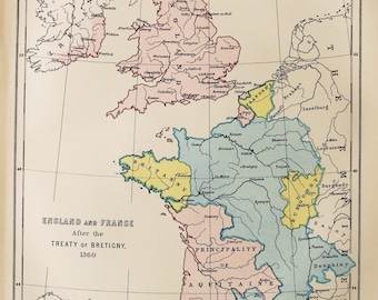 Antique Historical Map of England & France after the Treaty of Bretigny 1360. Encyclopedia Britannica, 1870s