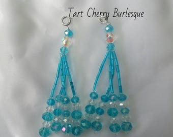 Blue Beaded Nipple Tassels for Burlesque Pasties