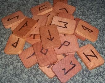 Handmade Rectangle Wood Rune Bold Set 25 Pieces Elder Futhark