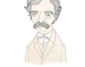 Mark Twain -  Literary Portrait Print