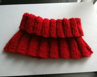 Snood, cowl Choker hand knitted red bib, unisex wool recycled upcycling