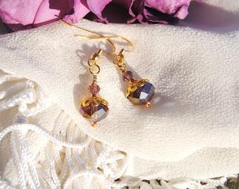 Purple and Gold Elegance Earrings