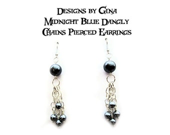 Midnight Blue Dangly Chains Silver Tone Beaded Pierced Earrings DG0019E2  Handmade Original Designs by Gina Dangle Drop