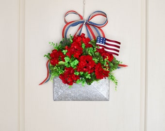 Red Geranium Bucket Wreath, Envelope Wreath, Greenery Wreath, Welcome Sign Wreath, Striped Ribbon, Gifts for Mom, Lala's Wreath Boutique