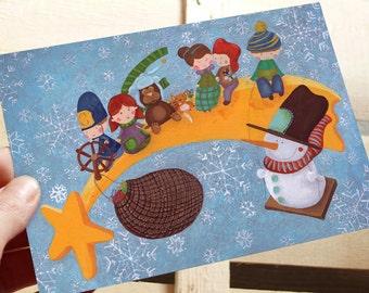 Cartolina illustrata natalizia con stella cometa guidata da un Bobby,pupazzo di neve in altalena e romantici personaggi Folk Art 14 x 10 cm