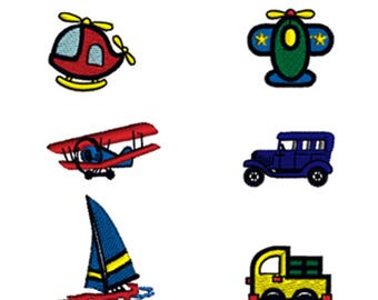 Transportation Minis Nursery Miniatures Truck Plane Helicopter Kids Vehicle Machine Embroidery Designs Set of 6 Digital Download Hoop 4x4in