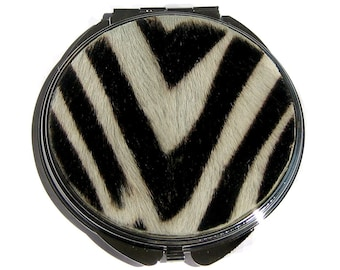 Zebra Print Hair-on Cowhide Compact Mirror - by UNEARTHED