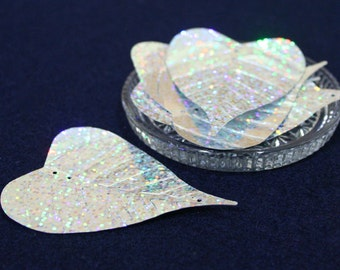 5 • Large Silver Glitter Leaf Sequins