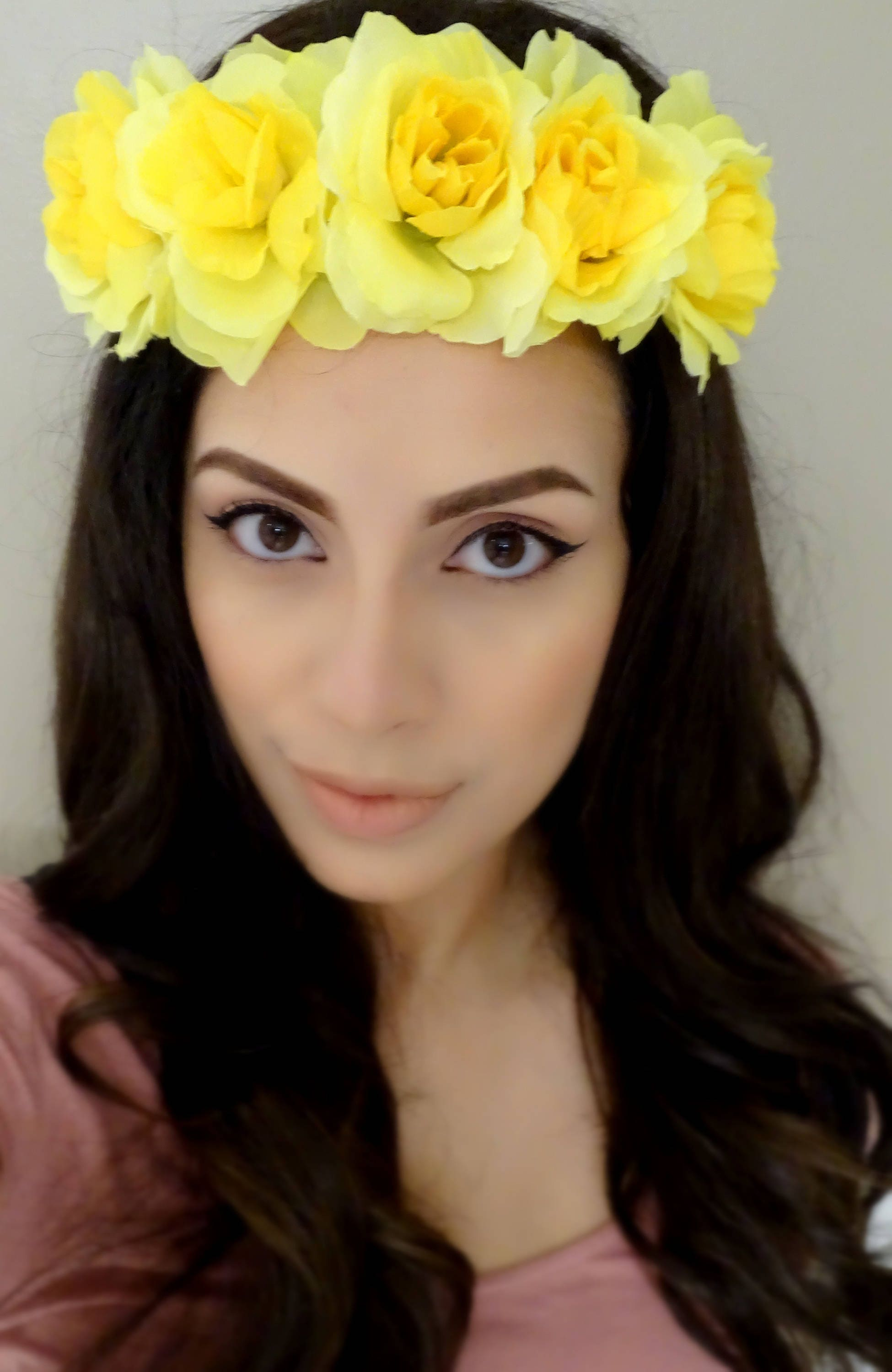 Yellow Flower Headband Floral Crown Yellow Rose Crown