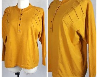 Vintage 80's Blouse Shirt Mustard Ocre Oversize Long Sleeves Cotton UK14 EU40