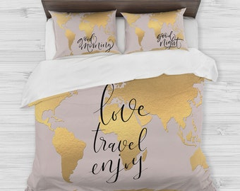 Map comforter etsy world map bedding golden map duvet cover set travel map bedding inspirational quote gumiabroncs Image collections