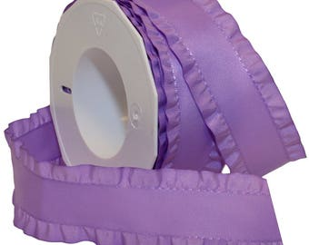 Ribbon,    Lavender Double Ruffle Ribbon, 1-1/2-Inch   By The Yard Hair Bows, Gift Wrap, Wreaths, Sewing, Crafts