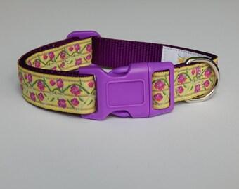 Vintage rose dog collar, Rose dog collar, adjustable dog collar, girl dog collar