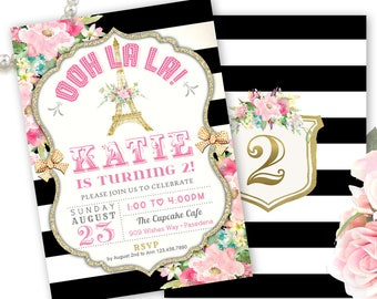 Paris Invitation, Eiffel Tower Invitation, Paris Birthday Invitation, Printable Paris Invitation, Ooh la la, French theme party, Paris Party
