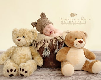Newborn photo prop, newborn hat, newborn boy, newborn girl, newborn props, newborn bear hat, newborn bear prop, Newborn hat with ears