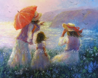 Mother Daughters Art Print, mother paintings children at beach, two daughters, three sisters, two sisters art ocean, Vickie Wade Art