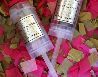 Will You Be My..... Maid of Honor, Bridesmaid, Flower Girl, etc. -Silver Confetti Poppers