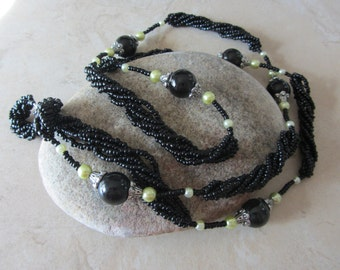 Black Beaded Necklace, Vintage Beads, Long Bead Necklace