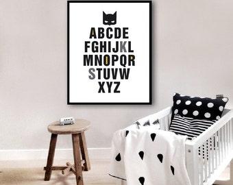 Super Hero  Alphabet print, Modern nursery Decor, Alphabet Kids room decor, ABC Art Print, Instant download (BabyArt A10)