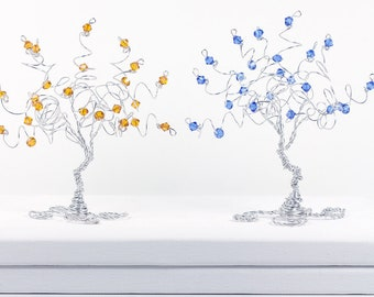 Birthstone Tree Swarovski Elements Birthday Gift Wire Tree Sculpture Small Custom Tree Art