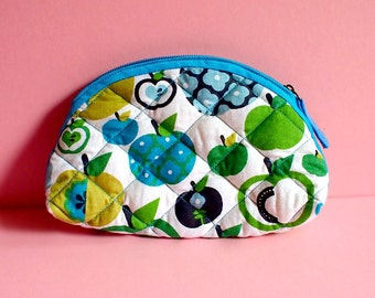 Zip Pouch - Pouch - Quilted Essentials Zip Pouch (Green Blue Apples)