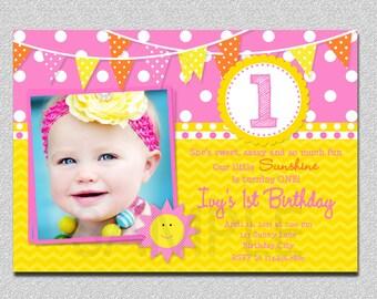 Sunshine 1st Birthday Invitation, Sunshine  Birthday Invitation, Girls Sunshine Invitation, Sunshine Birthday Party, 1st Birthday Invitation