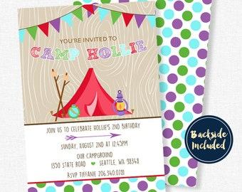 Glamping Invitation, Glam Camp Invitations, Glamping Birthday Invitation, Camping Birthday Party, Red Tent