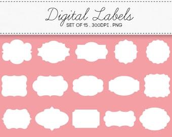 Digital Labels Frames Borders / INSTANT DOWNLOAD / Clip Art Set of 15 / 105