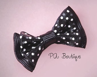 "20ct. Tiny Black & White Sheer Polka Dot Grosgrain Double Bow Ties 1"" x 1-5/8"" (FREE SHIPPING!)"