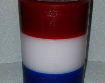 American Pillar Candle, red/white/blue candle, Americana Decor, 4th of July Candle