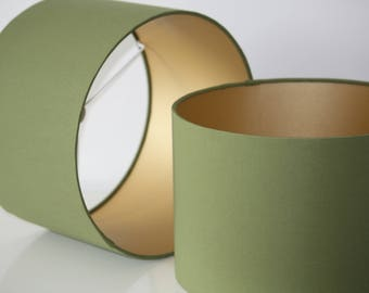 Drum lamp shade etsy olive green handmade drum lampshade with gold lining available in variety of sizes aloadofball Images