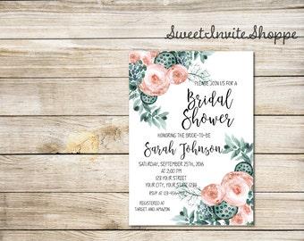 Succulent Bridal Shower Invitation, Rustic Succulents And Peony Invitation, Green & Pink Bridal Shower Invitation, Watercolor Floral Invite