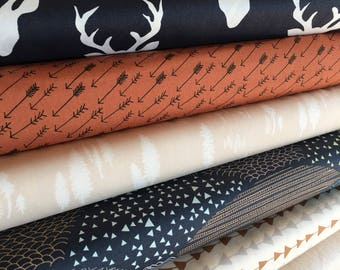Hello Bear, Navy Deer fabric, Forest fabric, Fall Fabric, Art Gallery, Fabric Bundle of 6- Choose the Cut, Free Shipping Available
