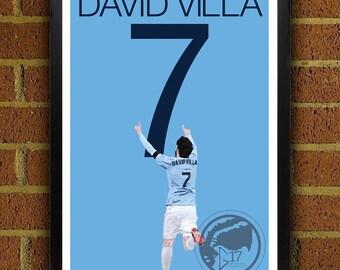 NYC Captain David Villa 7 Soccer Art Poster 8x10, 8.5x11, 13x19, print, art, home decor, wall decor, nyc poster, soccer, new york